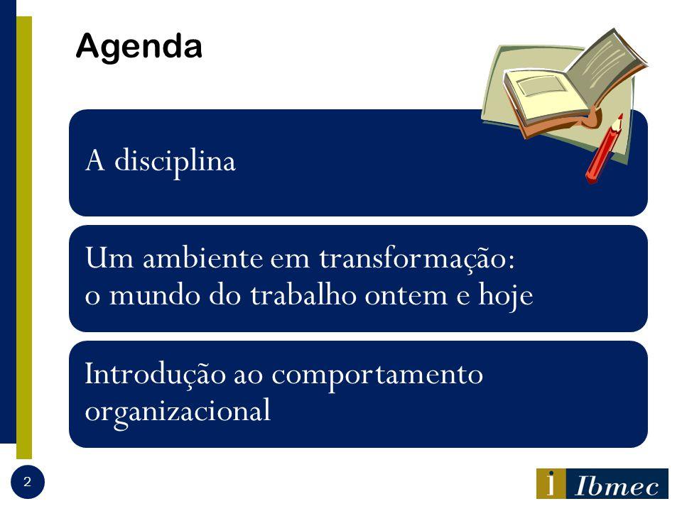 Agenda A disciplina Um ambiente em transformação: o mundo do trabalho ontem e hoje Introdução ao comportamento organizacional 2