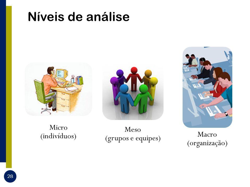 Níveis de análise 28 Micro (indivíduos) Meso (grupos e equipes) Macro (organização)