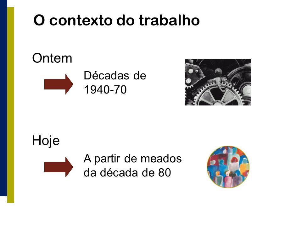 O contexto do trabalho Ontem Hoje Décadas de 1940-70 A partir de meados da década de 80