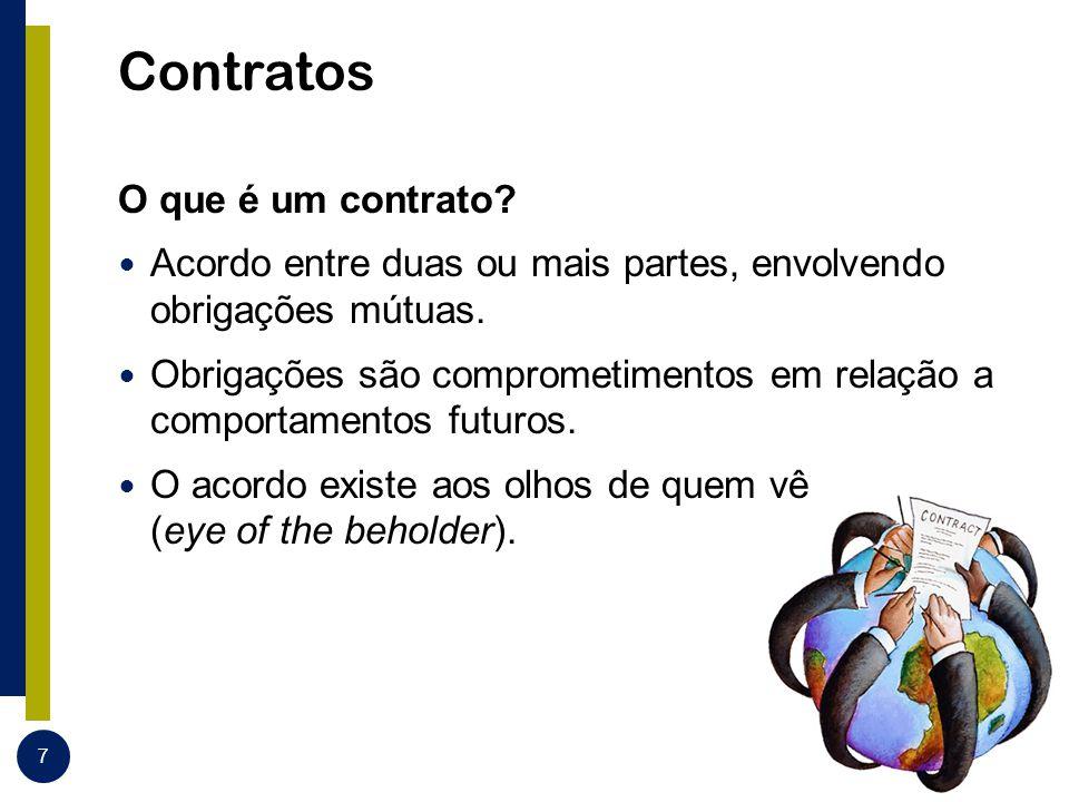 Contratos O que é um contrato? Acordo entre duas ou mais partes, envolvendo obrigações mútuas. Obrigações são comprometimentos em relação a comportame