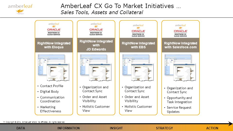 DATA Copyright © 2014, AmberLeaf and/or its affiliates. All rights reserved. 11 INFORMATIONINSIGHTSTRATEGYACTION AmberLeaf CX Go To Market Initiatives