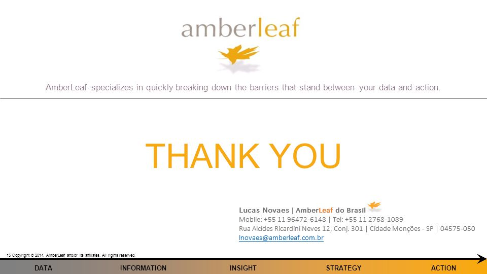 AmberLeaf specializes in quickly breaking down the barriers that stand between your data and action. Copyright © 2014, AmberLeaf and/or its affiliates