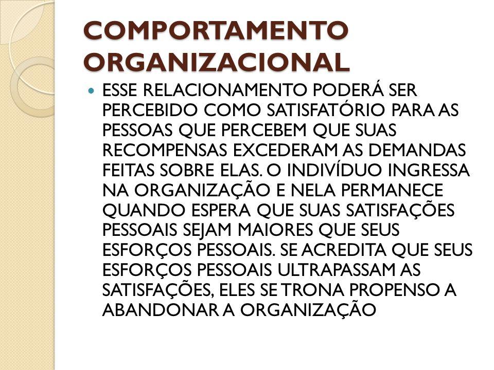 COMPORTAMENTO ORGANIZACIONAL ESSE RELACIONAMENTO PODERÁ SER PERCEBIDO COMO SATISFATÓRIO PARA AS PESSOAS QUE PERCEBEM QUE SUAS RECOMPENSAS EXCEDERAM AS