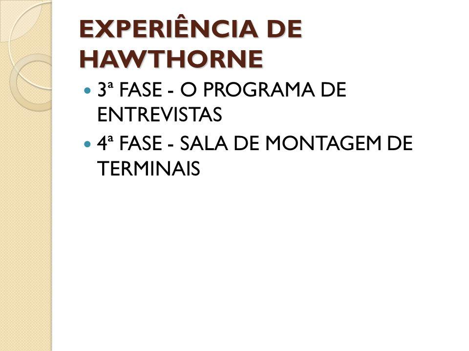 EXPERIÊNCIA DE HAWTHORNE 3ª FASE - O PROGRAMA DE ENTREVISTAS 4ª FASE - SALA DE MONTAGEM DE TERMINAIS