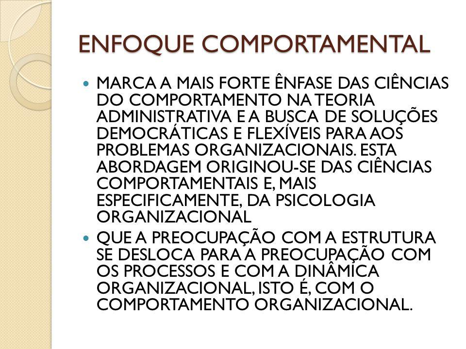 ENFOQUE COMPORTAMENTAL MARCA A MAIS FORTE ÊNFASE DAS CIÊNCIAS DO COMPORTAMENTO NA TEORIA ADMINISTRATIVA E A BUSCA DE SOLUÇÕES DEMOCRÁTICAS E FLEXÍVEIS