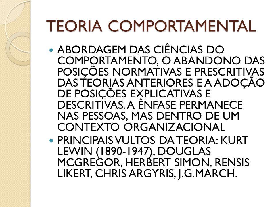 TEORIA COMPORTAMENTAL ABORDAGEM DAS CIÊNCIAS DO COMPORTAMENTO, O ABANDONO DAS POSIÇÕES NORMATIVAS E PRESCRITIVAS DAS TEORIAS ANTERIORES E A ADOÇÃO DE
