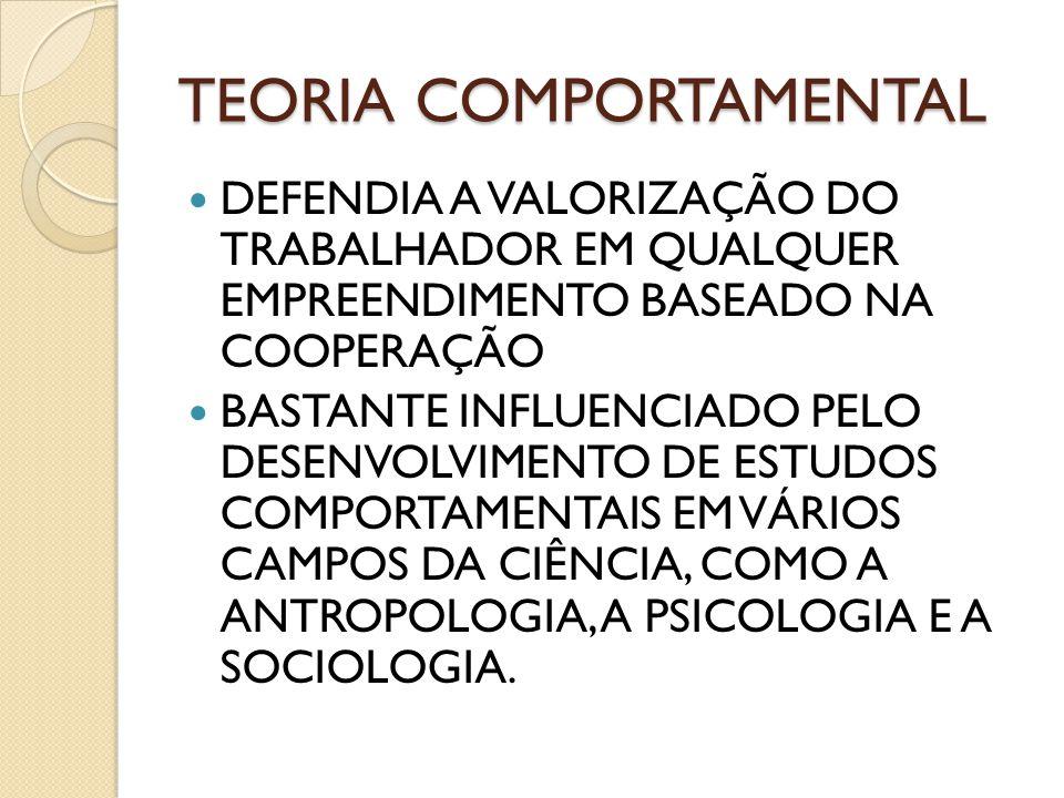 TEORIA COMPORTAMENTAL DEFENDIA A VALORIZAÇÃO DO TRABALHADOR EM QUALQUER EMPREENDIMENTO BASEADO NA COOPERAÇÃO BASTANTE INFLUENCIADO PELO DESENVOLVIMENT