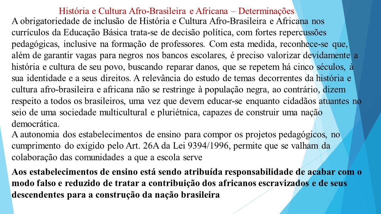 História e Cultura Afro-Brasileira e Africana – Determinações A obrigatoriedade de inclusão de História e Cultura Afro-Brasileira e Africana nos currí