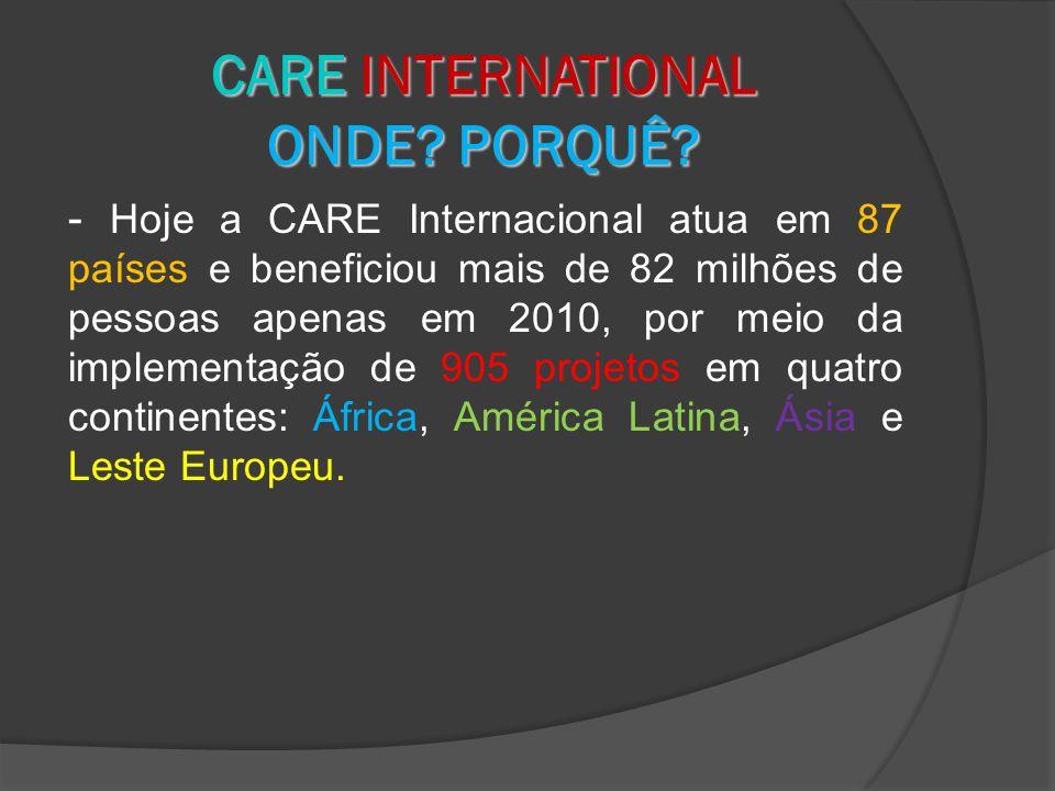 - Hoje a CARE Internacional atua em 87 países e beneficiou mais de 82 milhões de pessoas apenas em 2010, por meio da implementação de 905 projetos em quatro continentes: África, América Latina, Ásia e Leste Europeu.
