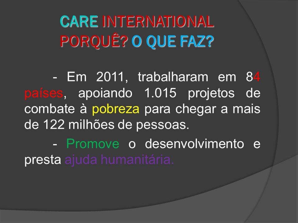 - Em 2011, trabalharam em 84 países, apoiando 1.015 projetos de combate à pobreza para chegar a mais de 122 milhões de pessoas.