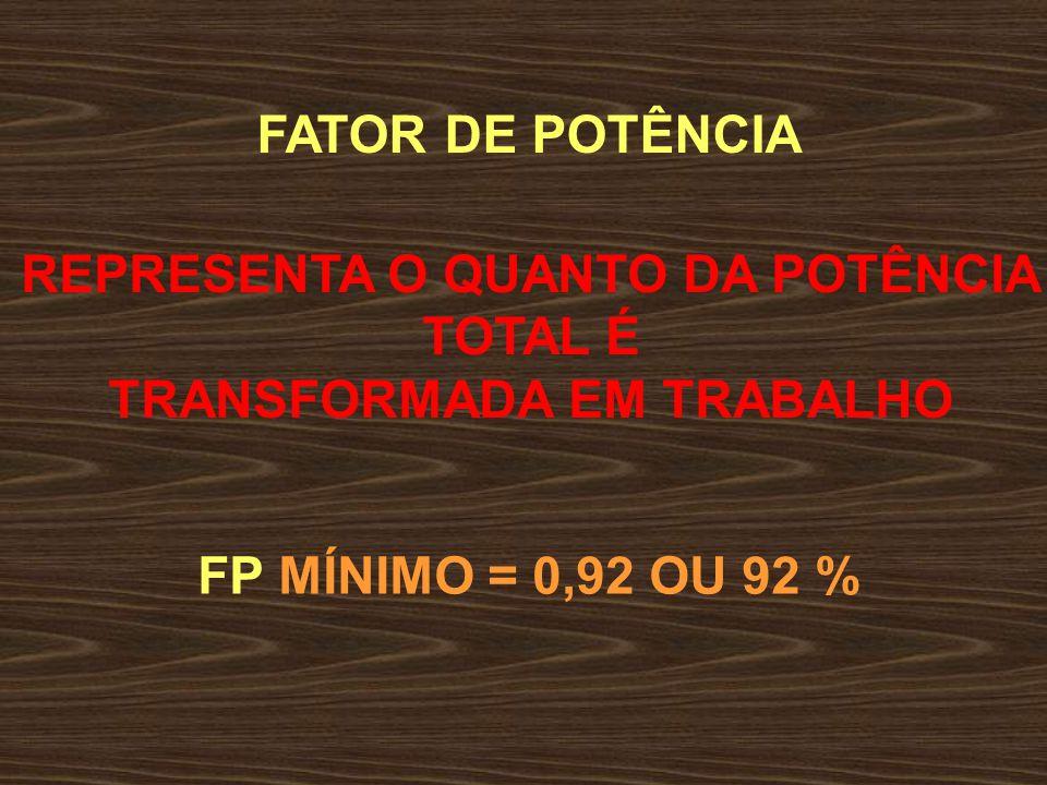FATOR DE POTÊNCIA É A RELAÇÃO ENTRE A P At E A P Ap FP = P At P Ap