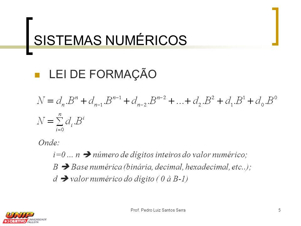 Prof. Pedro Luiz Santos Serra5 SISTEMAS NUMÉRICOS LEI DE FORMAÇÃO Onde: i=0... n  número de dígitos inteiros do valor numérico; B  Base numérica (bi