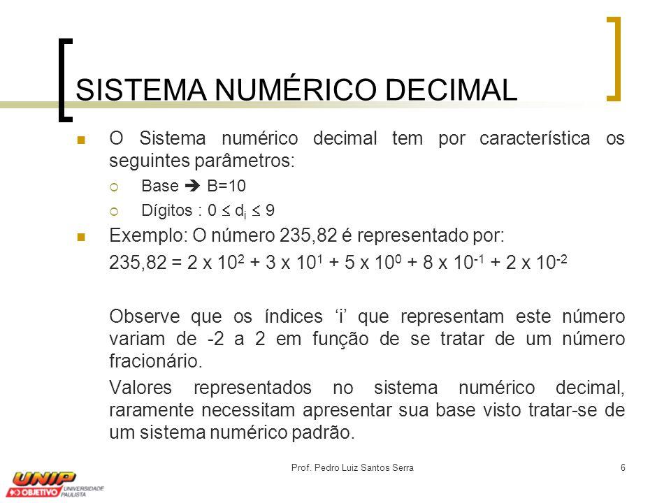 Prof. Pedro Luiz Santos Serra6 SISTEMA NUMÉRICO DECIMAL O Sistema numérico decimal tem por característica os seguintes parâmetros:  Base  B=10  Díg