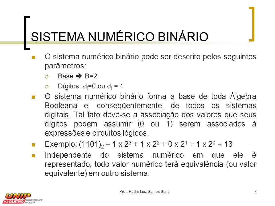 Prof. Pedro Luiz Santos Serra7 O sistema numérico binário pode ser descrito pelos seguintes parâmetros:  Base  B=2  Dígitos: d i =0 ou d i = 1 O si