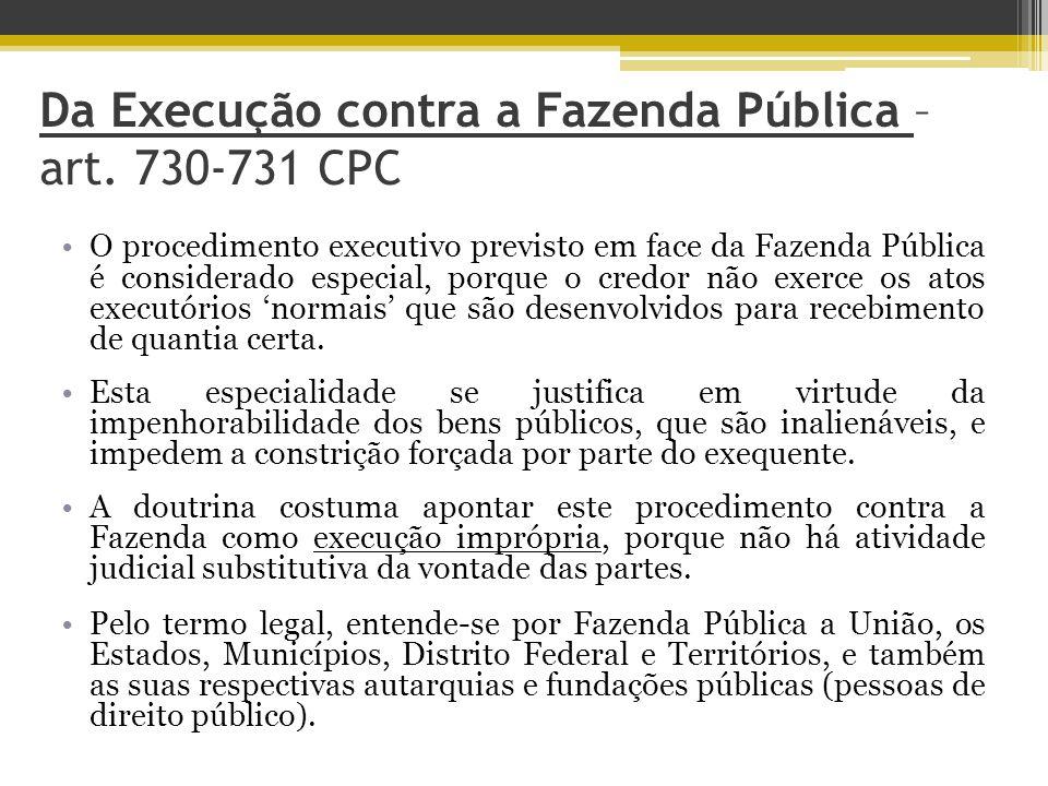 Da Execução contra a Fazenda Pública – art.
