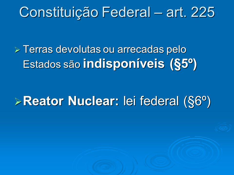 Constituição Federal – art. 225  Terras devolutas ou arrecadas pelo Estados são indisponíveis (§5º)  Reator Nuclear: lei federal (§6º)