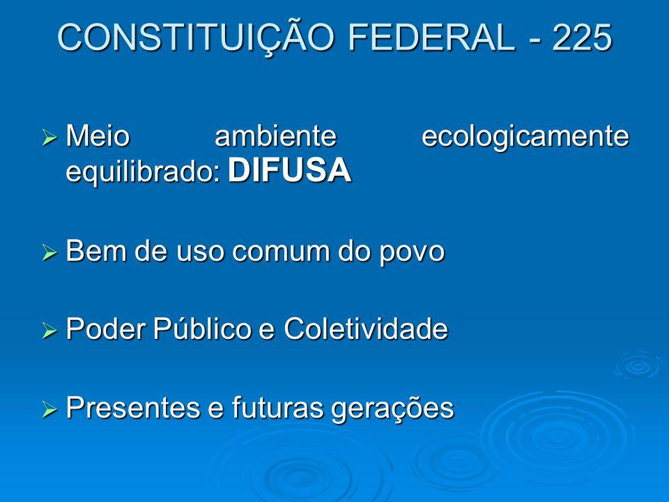 CONSTITUIÇÃO FEDERAL - 225  Meio ambiente ecologicamente equilibrado: DIFUSA  Bem de uso comum do povo  Poder Público e Coletividade  Presentes e