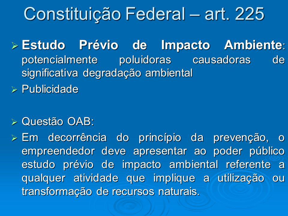 Constituição Federal – art. 225  Estudo Prévio de Impacto Ambiente : potencialmente poluidoras causadoras de significativa degradação ambiental  Pub
