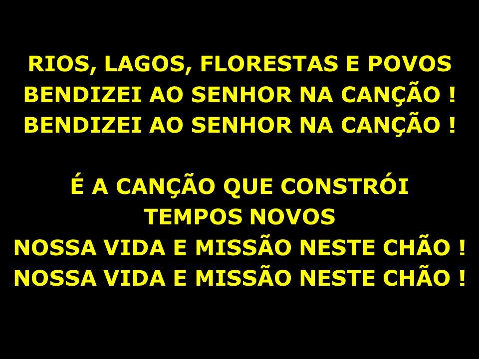 RIOS, LAGOS, FLORESTAS E POVOS BENDIZEI AO SENHOR NA CANÇÃO ! É A CANÇÃO QUE CONSTRÓI TEMPOS NOVOS NOSSA VIDA E MISSÃO NESTE CHÃO !