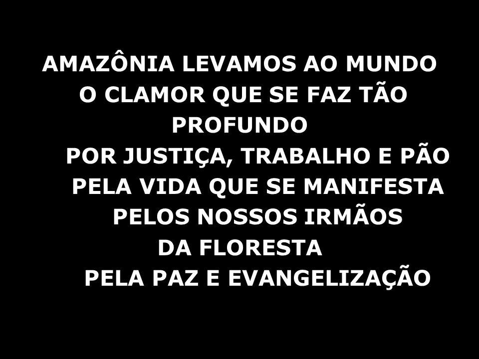AMAZÔNIA LEVAMOS AO MUNDO O CLAMOR QUE SE FAZ TÃO PROFUNDO POR JUSTIÇA, TRABALHO E PÃO PELA VIDA QUE SE MANIFESTA PELOS NOSSOS IRMÃOS DA FLORESTA PELA