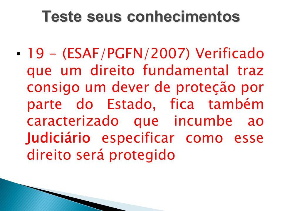 Teste seus conhecimentos 19 - (ESAF/PGFN/2007) Verificado que um direito fundamental traz consigo um dever de proteção por parte do Estado, fica també