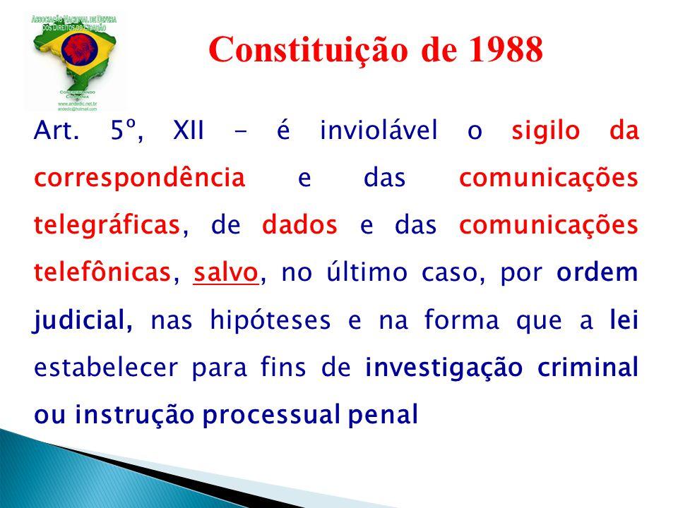Constituição de 1988 Art. 5º, XII - é inviolável o sigilo da correspondência e das comunicações telegráficas, de dados e das comunicações telefônicas,