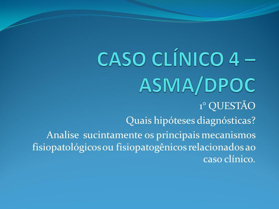 1° QUESTÃO Quais hipóteses diagnósticas? Analise sucintamente os principais mecanismos fisiopatológicos ou fisiopatogênicos relacionados ao caso clíni