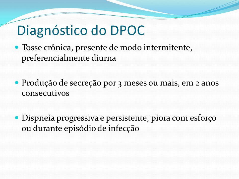 Diagnóstico do DPOC Tosse crônica, presente de modo intermitente, preferencialmente diurna Produção de secreção por 3 meses ou mais, em 2 anos consecu