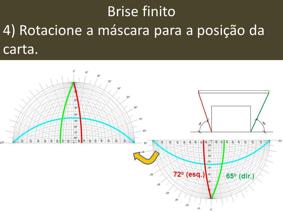 Brise finito 4) Rotacione a máscara para a posição da carta. 72 o (esq.) 65 o (dir.)