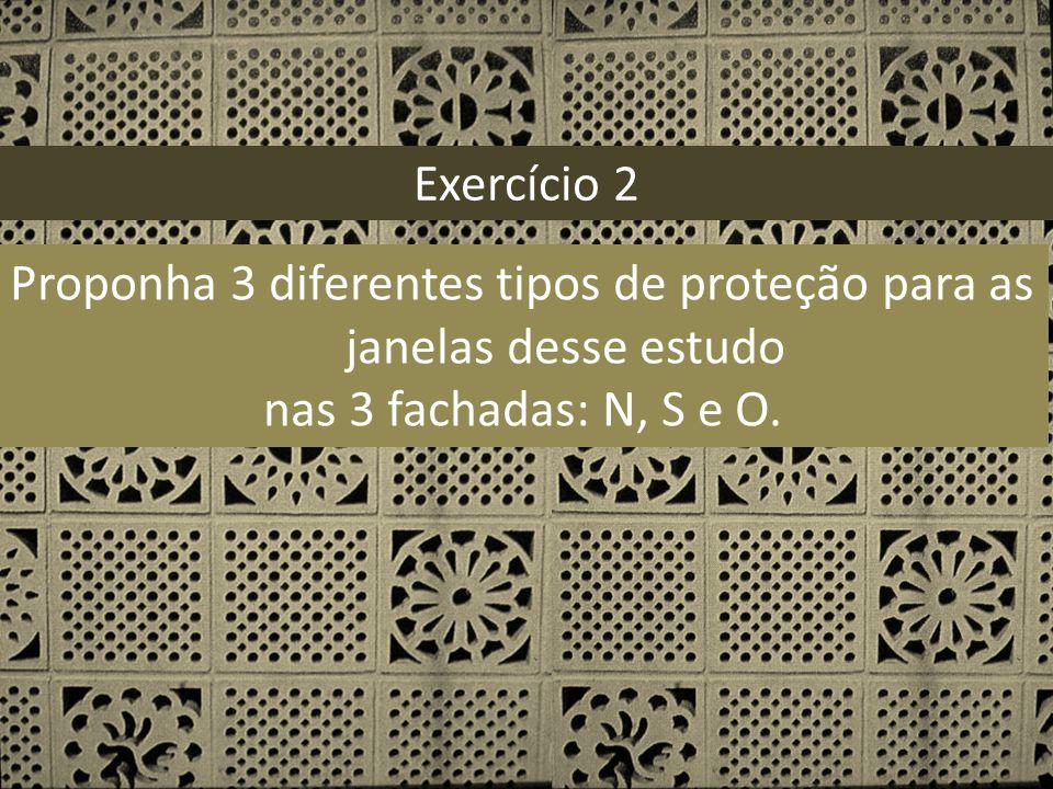 Exercício 2 Proponha 3 diferentes tipos de proteção para as janelas desse estudo nas 3 fachadas: N, S e O.