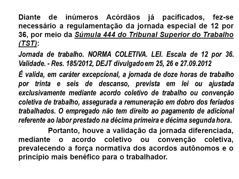 Diante de inúmeros Acórdãos já pacificados, fez-se necessário a regulamentação da jornada especial de 12 por 36, por meio da Súmula 444 do Tribunal Su