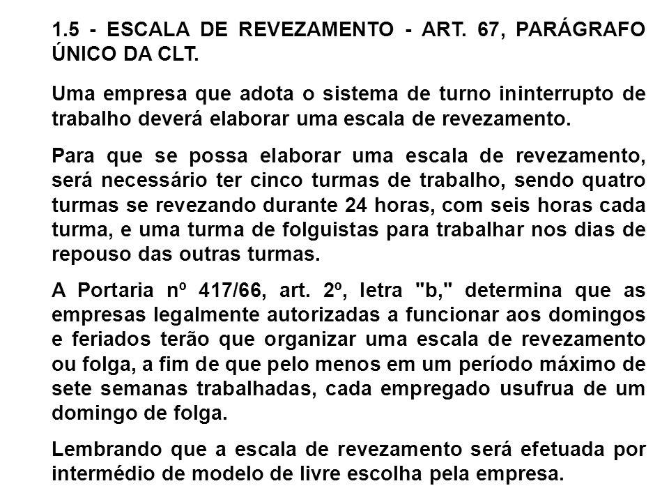 1.5 - ESCALA DE REVEZAMENTO - ART. 67, PARÁGRAFO ÚNICO DA CLT. Uma empresa que adota o sistema de turno ininterrupto de trabalho deverá elaborar uma e