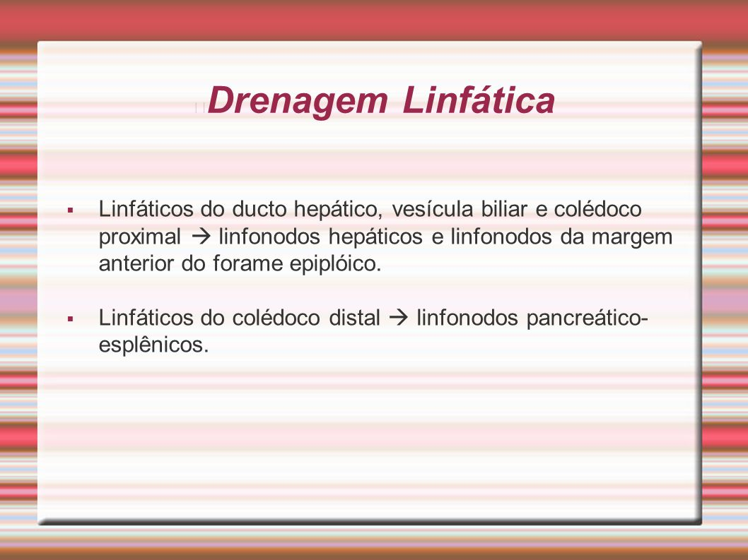 Drenagem Linfática  Linfáticos do ducto hepático, vesícula biliar e colédoco proximal  linfonodos hepáticos e linfonodos da margem anterior do foram