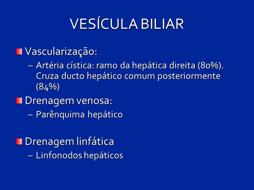 VESÍCULA BILIAR Vascularização: –Artéria cística: ramo da hepática direita (80%). Cruza ducto hepático comum posteriormente (84%) Drenagem venosa: –Pa