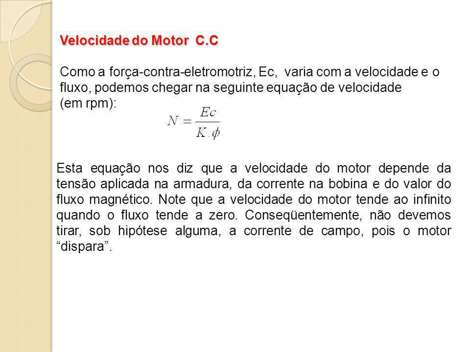 Velocidade do Motor C.C Como a força-contra-eletromotriz, Ec, varia com a velocidade e o fluxo, podemos chegar na seguinte equação de velocidade (em r
