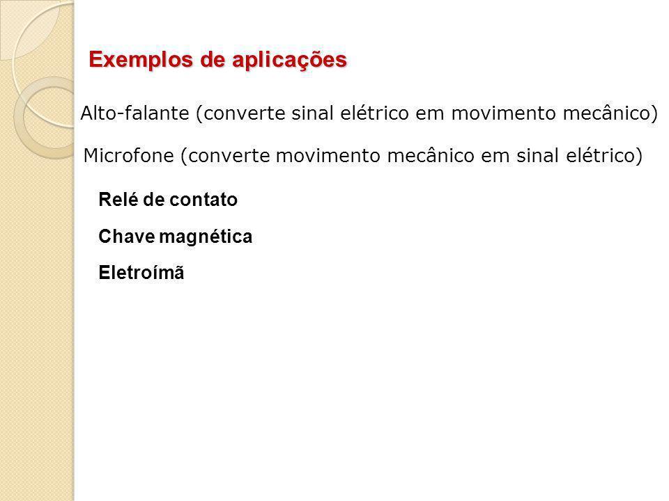 Exemplos de aplicações Alto-falante (converte sinal elétrico em movimento mecânico) Microfone (converte movimento mecânico em sinal elétrico) Relé de