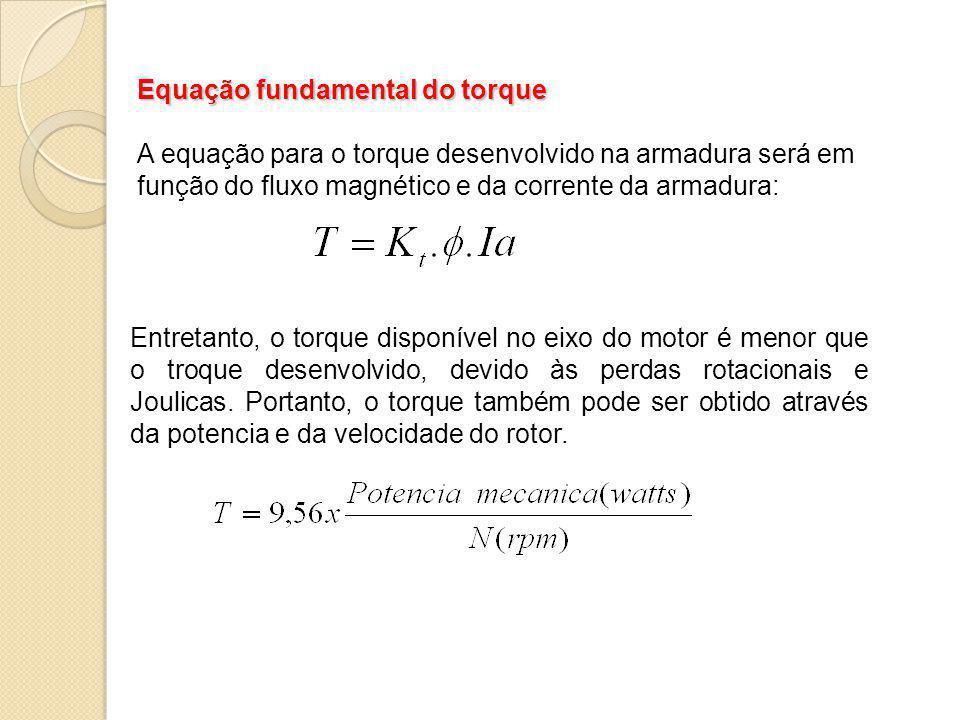 Equação fundamental do torque A equação para o torque desenvolvido na armadura será em função do fluxo magnético e da corrente da armadura: Entretanto