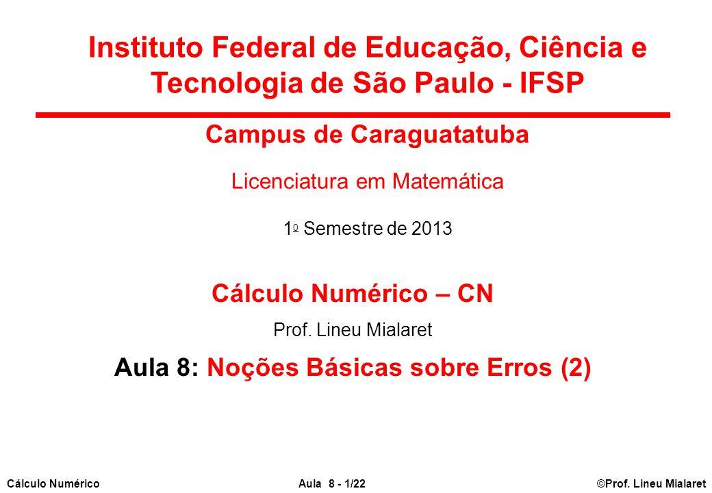 ©Prof. Lineu MialaretAula 8 - 1/22Cálculo Numérico Cálculo Numérico – CN Prof. Lineu Mialaret Aula 8: Noções Básicas sobre Erros (2) Instituto Federal