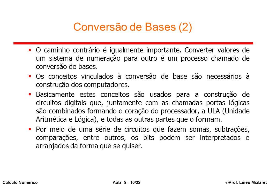 ©Prof. Lineu MialaretAula 8 - 10/22Cálculo Numérico Conversão de Bases (2)  O caminho contrário é igualmente importante. Converter valores de um sist