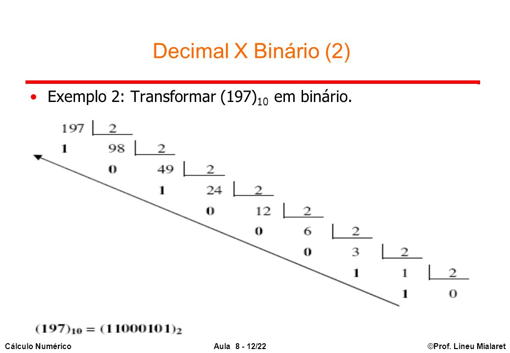 ©Prof. Lineu MialaretAula 8 - 12/22Cálculo Numérico Decimal X Binário (2) Exemplo 2: Transformar (197) 10 em binário.
