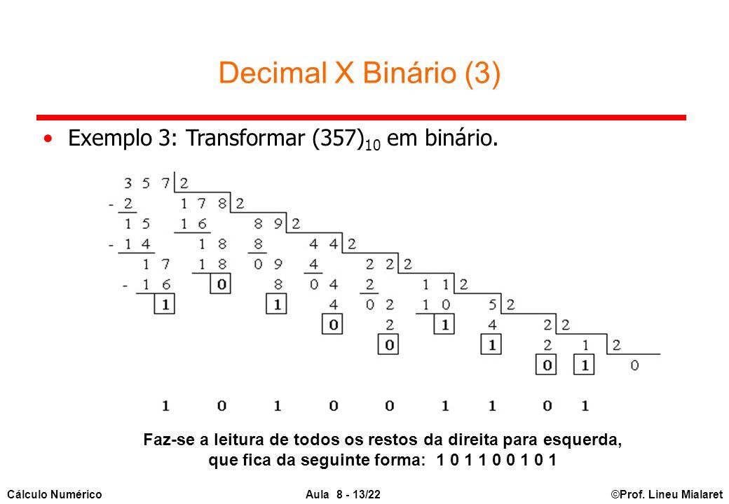 ©Prof. Lineu MialaretAula 8 - 13/22Cálculo Numérico Faz-se a leitura de todos os restos da direita para esquerda, que fica da seguinte forma: 1 0 1 1