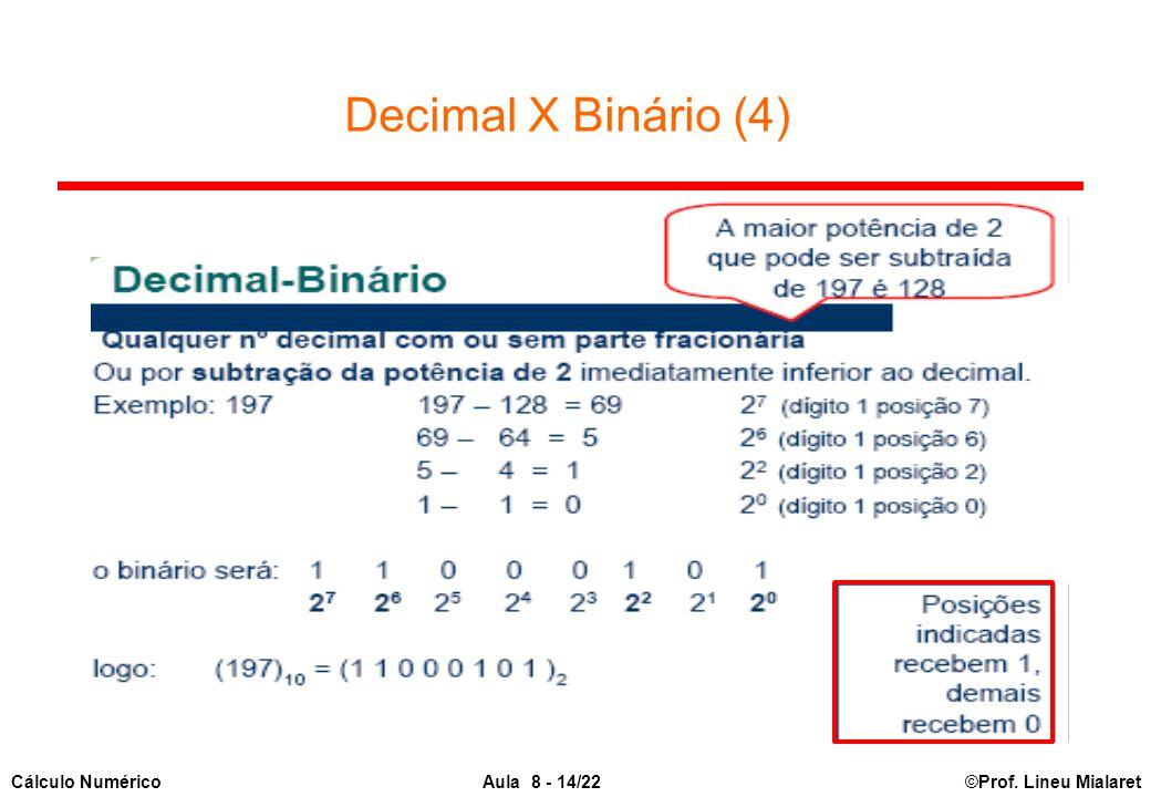 ©Prof. Lineu MialaretAula 8 - 14/22Cálculo Numérico Decimal X Binário (4)