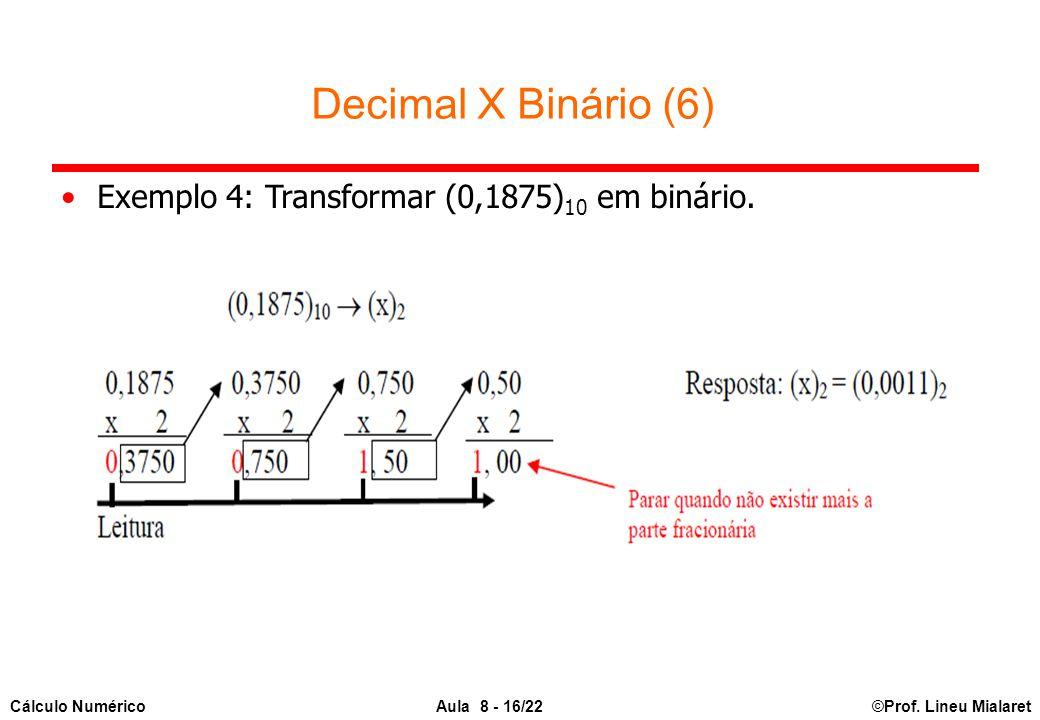 ©Prof. Lineu MialaretAula 8 - 16/22Cálculo Numérico Decimal X Binário (6) Exemplo 4: Transformar (0,1875) 10 em binário.