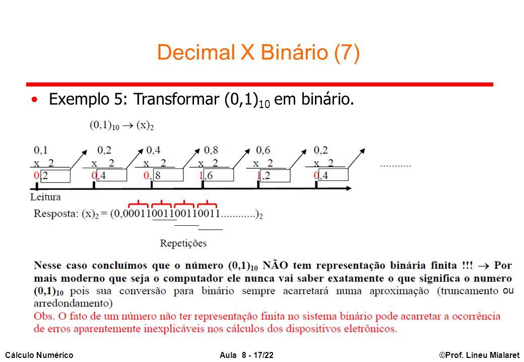 ©Prof. Lineu MialaretAula 8 - 17/22Cálculo Numérico Decimal X Binário (7) Exemplo 5: Transformar (0,1) 10 em binário. ou