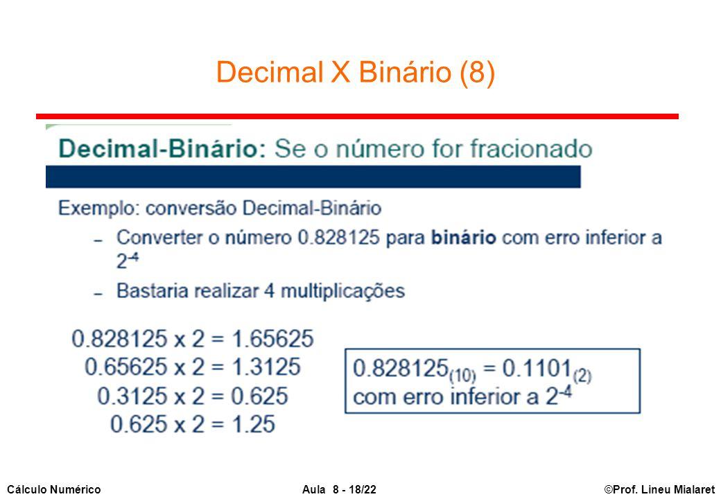 ©Prof. Lineu MialaretAula 8 - 18/22Cálculo Numérico Decimal X Binário (8)
