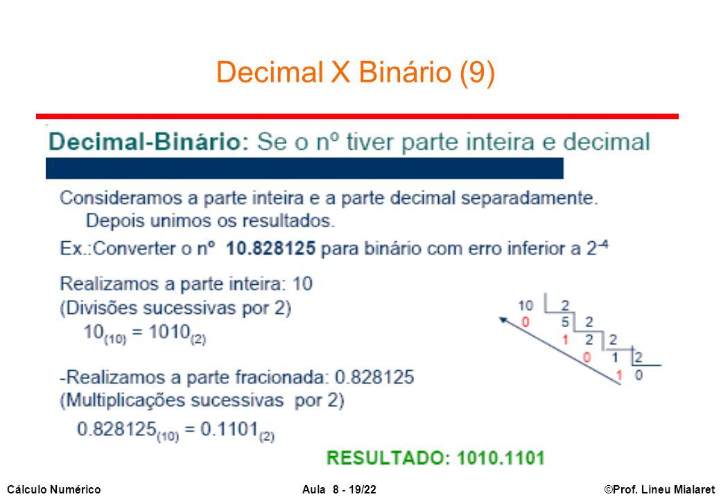 ©Prof. Lineu MialaretAula 8 - 19/22Cálculo Numérico Decimal X Binário (9)