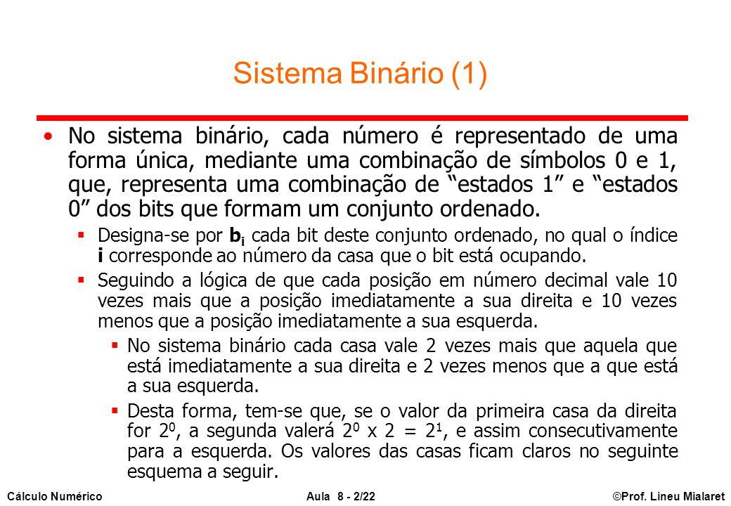 ©Prof. Lineu MialaretAula 8 - 2/22Cálculo Numérico Sistema Binário (1) No sistema binário, cada número é representado de uma forma única, mediante uma