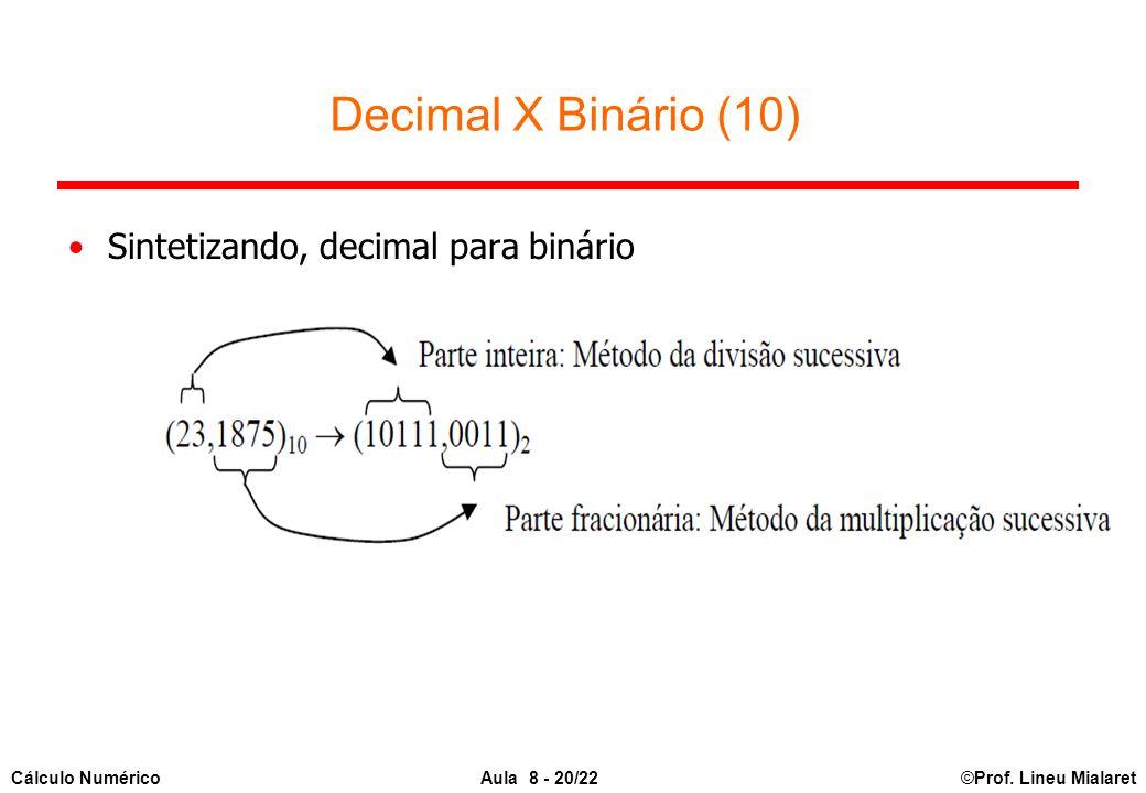 ©Prof. Lineu MialaretAula 8 - 20/22Cálculo Numérico Sintetizando, decimal para binário Decimal X Binário (10)