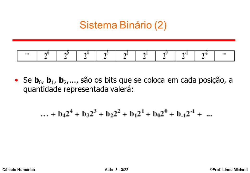 ©Prof. Lineu MialaretAula 8 - 3/22Cálculo Numérico Sistema Binário (2) Se b 0, b 1, b 2,..., são os bits que se coloca em cada posição, a quantidade r