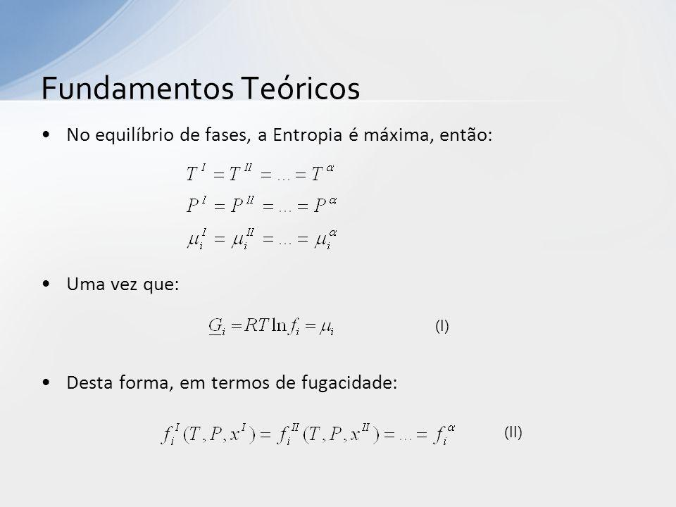 No equilíbrio de fases, a Entropia é máxima, então: Uma vez que: Desta forma, em termos de fugacidade: Fundamentos Teóricos (I) (II)